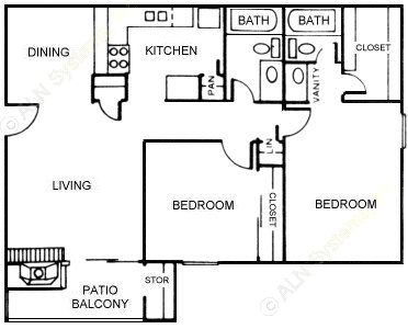 906 sq. ft. Magnolia floor plan