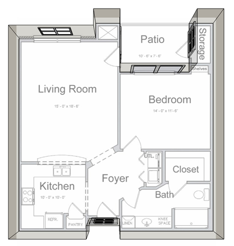 813 sq. ft. A1 60% floor plan