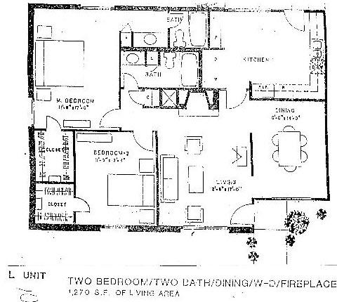 1,255 sq. ft. L floor plan
