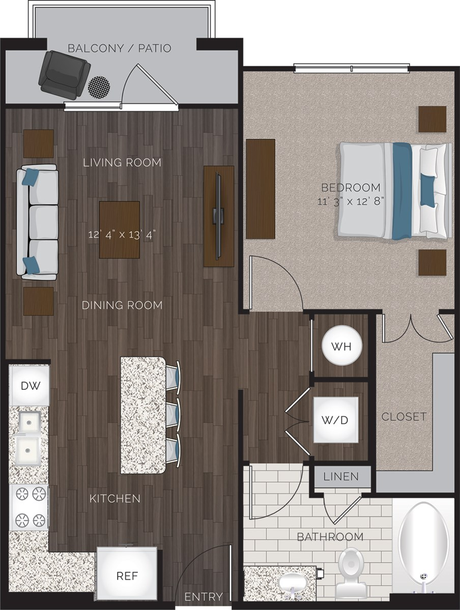685 sq. ft. A1.2B floor plan