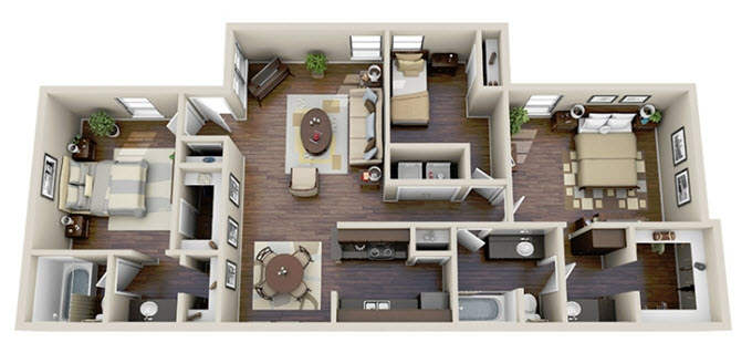 1,255 sq. ft. C1 floor plan