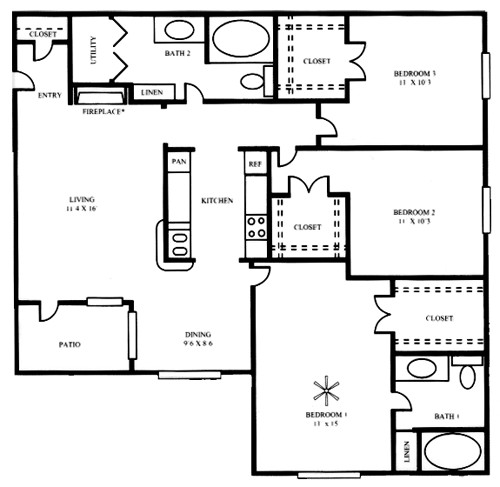 1,226 sq. ft. C1 floor plan