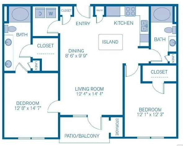 1,084 sq. ft. to 1,150 sq. ft. B1 floor plan