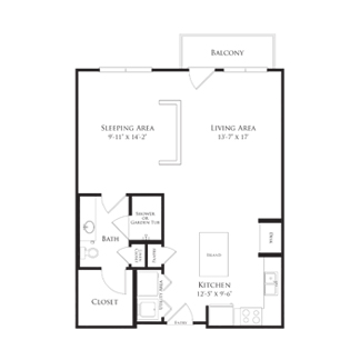 727 sq. ft. 2A3.2 floor plan