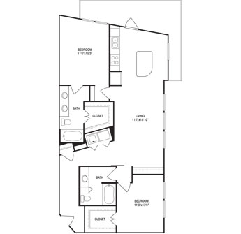 1,239 sq. ft. floor plan