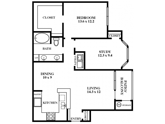 966 sq. ft. Willow Oak floor plan