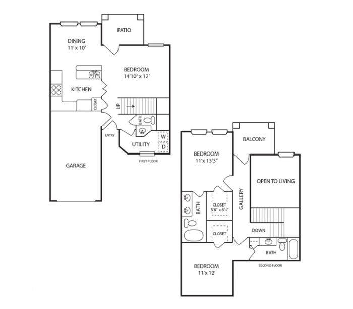 1,194 sq. ft. Dogwood floor plan
