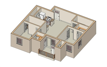 875 sq. ft. B2/60% floor plan