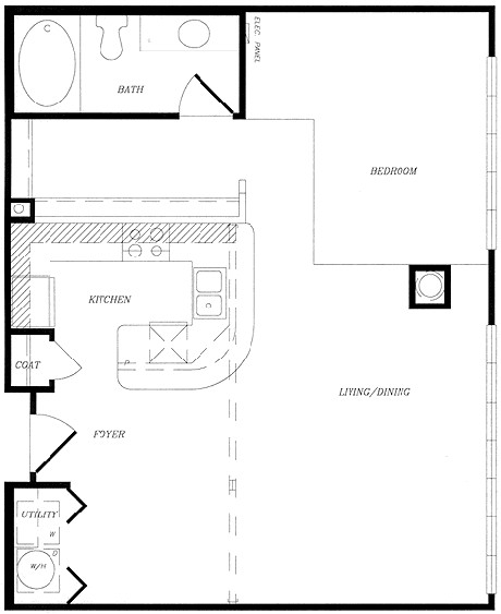 814 sq. ft. to 834 sq. ft. floor plan