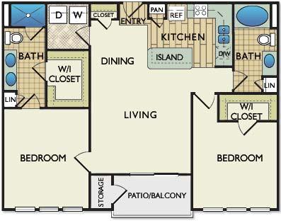 1,080 sq. ft. Michelangelo floor plan