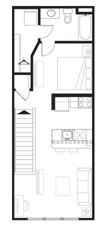 623 sq. ft. Overlook floor plan