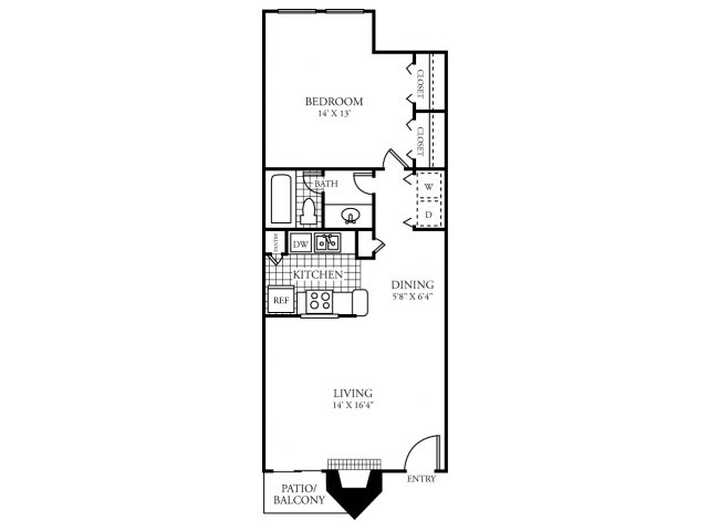 734 sq. ft. C floor plan