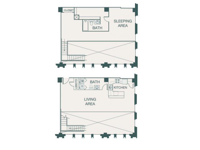 1,538 sq. ft. U floor plan