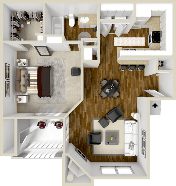 761 sq. ft. A2S floor plan