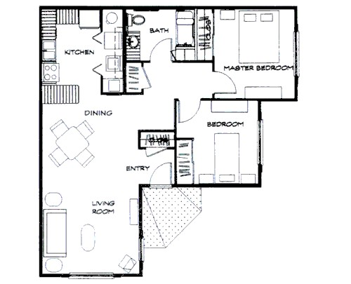 852 sq. ft. floor plan