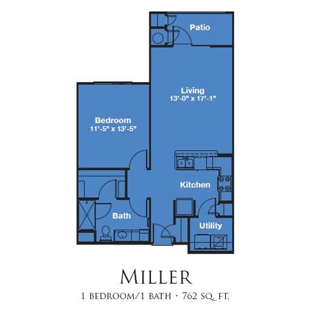 762 sq. ft. MILLER/60% floor plan