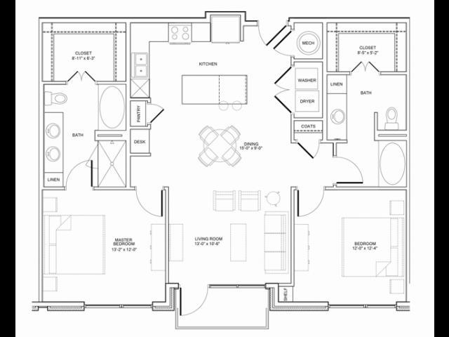 1,238 sq. ft. 2C floor plan