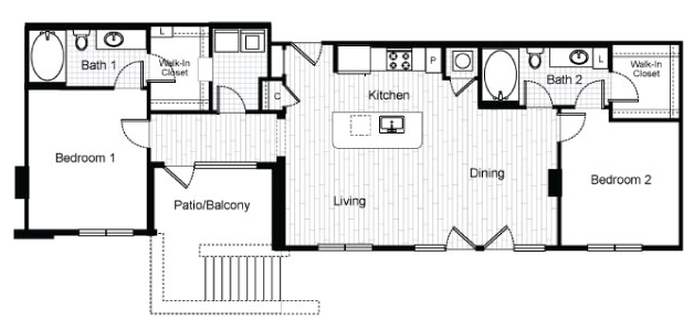 1,212 sq. ft. B5 floor plan