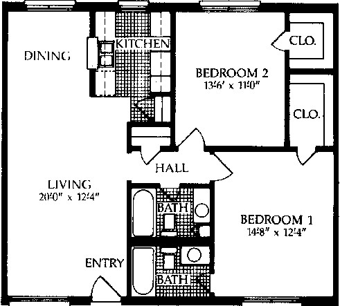 978 sq. ft. F floor plan
