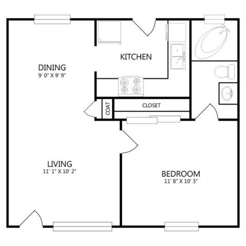 524 sq. ft. A1 floor plan