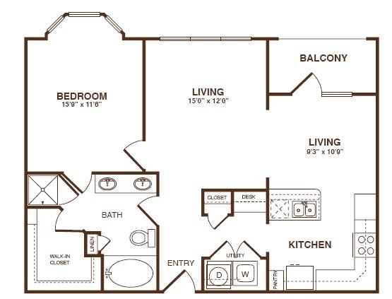 917 sq. ft. A4SA floor plan