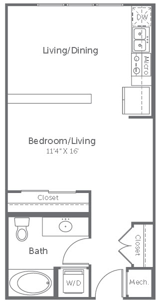 542 sq. ft. to 637 sq. ft. S1-Loft floor plan