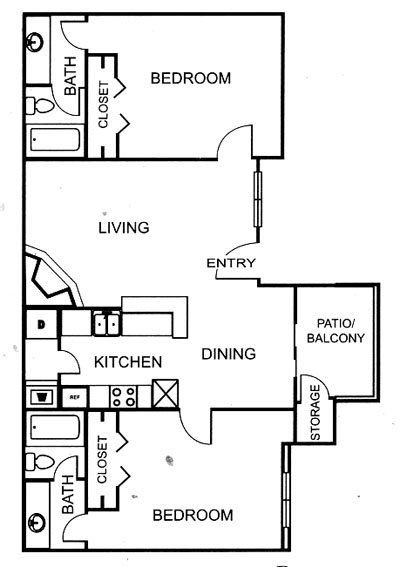 883 sq. ft. B3 floor plan
