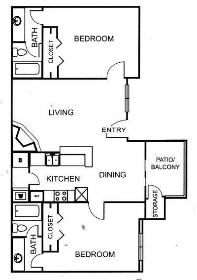 883 sq. ft. B2 floor plan