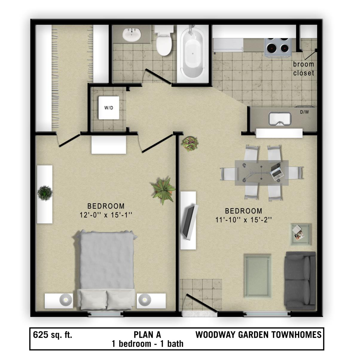 625 sq. ft. 2 floor plan