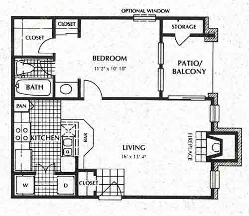 588 sq. ft. A1 floor plan