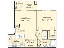 727 sq. ft. Seville floor plan
