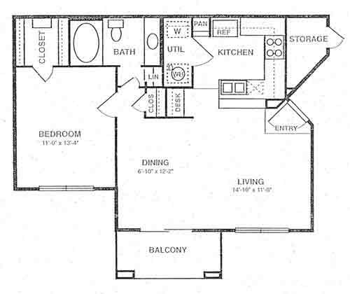 740 sq. ft. A2 floor plan