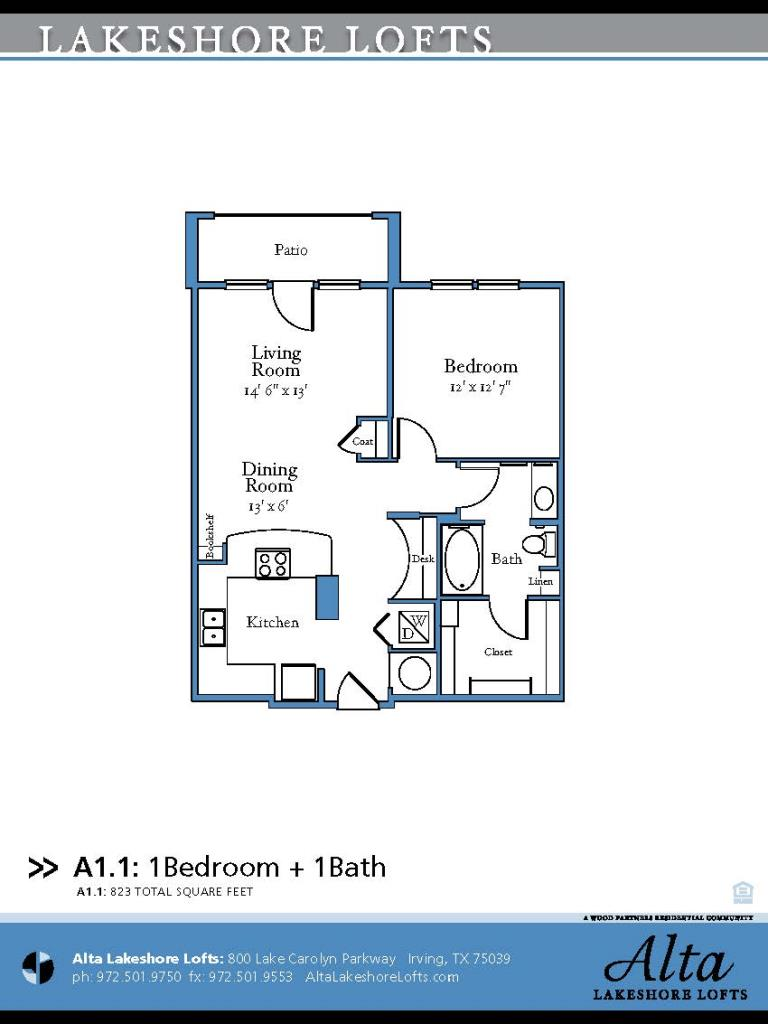 823 sq. ft. A1.1 floor plan