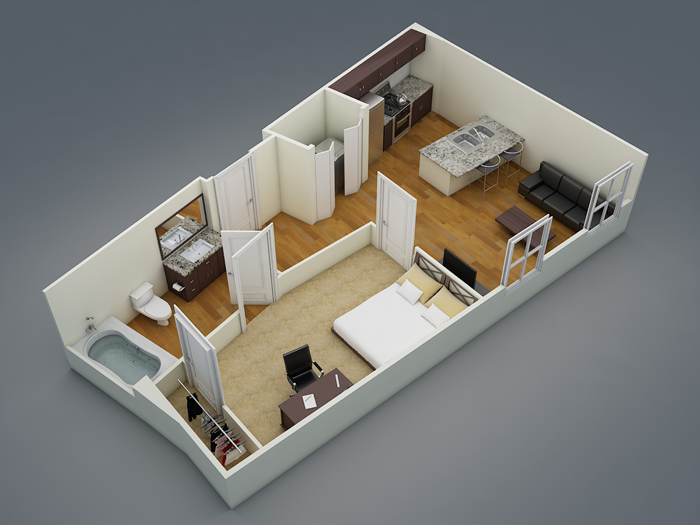 501 sq. ft. A2 floor plan