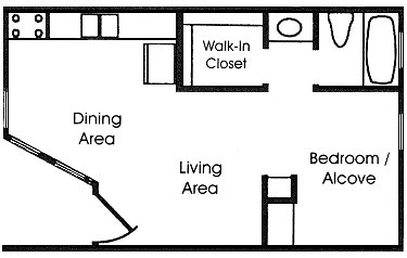 400 sq. ft. A2 floor plan