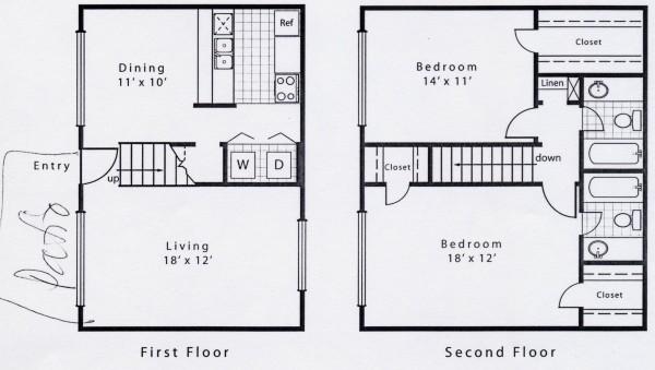 1,192 sq. ft. B2E floor plan