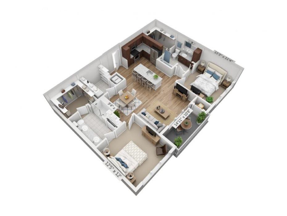 1,115 sq. ft. B3B floor plan