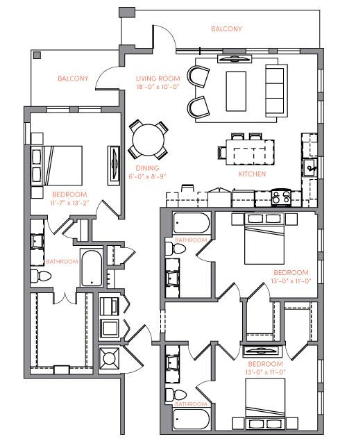1,600 sq. ft. C1 floor plan