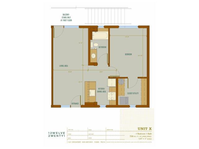 728 sq. ft. X floor plan