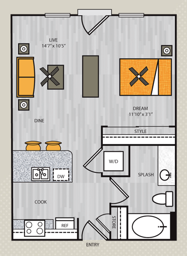 571 sq. ft. S1 floor plan