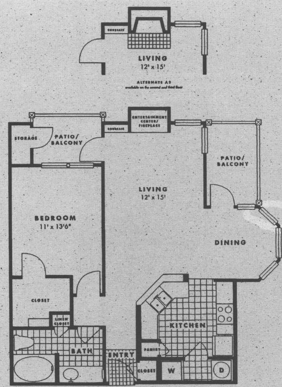 844 sq. ft. A3 floor plan