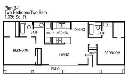 1,036 sq. ft. B1 floor plan