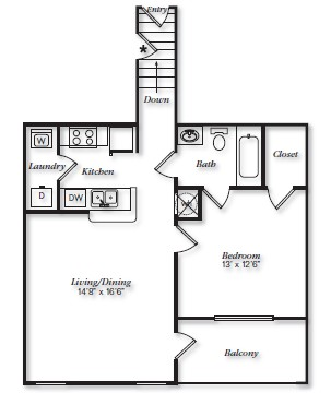 987 sq. ft. A2UG floor plan