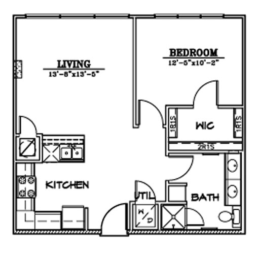 667 sq. ft. A3/A3HC floor plan