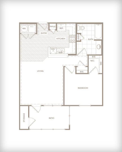 741 sq. ft. A2 Studio floor plan