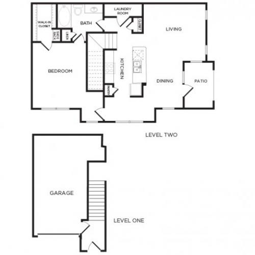 980 sq. ft. A9 floor plan