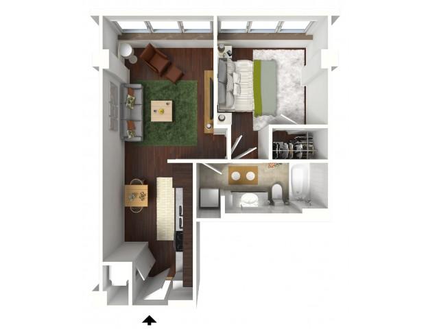682 sq. ft. Denim floor plan