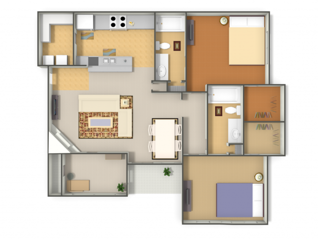 1,205 sq. ft. B4 floor plan