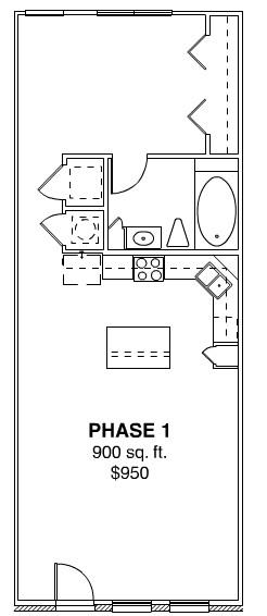 900 sq. ft. PHASE I floor plan