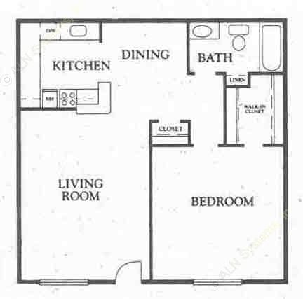 600 sq. ft. All Bills floor plan